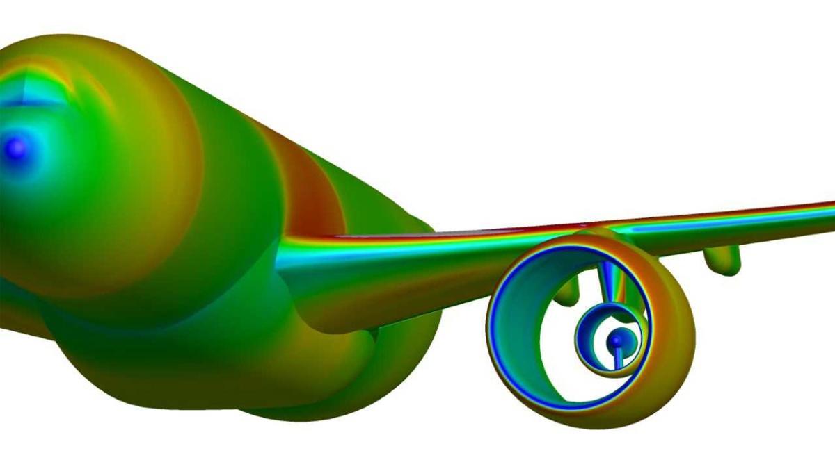 Druckverteilung einer Flugzeugkonfiguration mit UHBR-Gondel (Simulation)