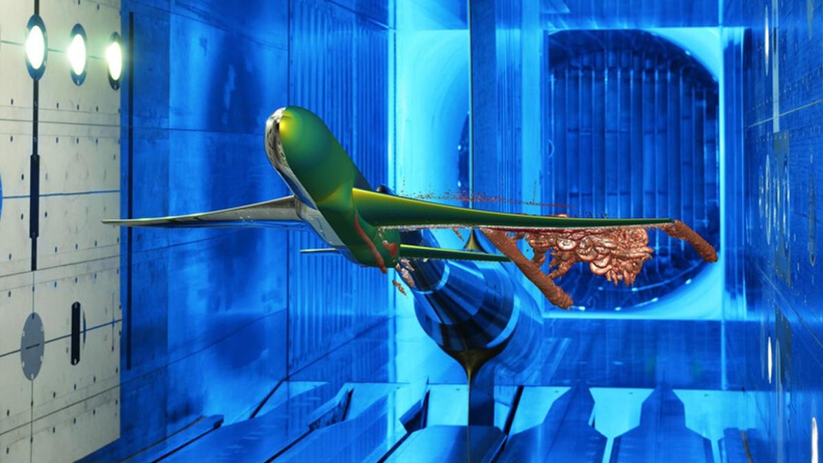 Modell im Windkanal, Original und Simulation