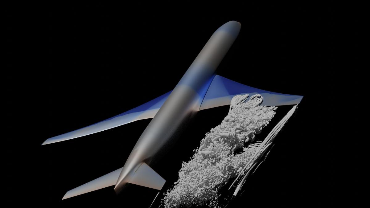 Visualisierung des Flügelnachlaufs unter Buffet-Bedingungen (Strömungssimulation)
